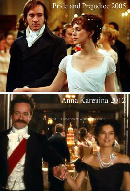 obsessedwithfandoms:  So I was looking up the movie Anna Karenina just a few moments ago and on the cast list, I saw both Keira Knightley and Matthew Macfadyen. Now, I love Pride and Prejudice and yes, the 2005 movie. So when I saw the two of them together once more, I was like 'AWW.' And then I looked up Matthew Macfaydyen in the movie because - well, to be honest- I love me some Macfadyen. HE HAS A MUSTACHE. I have nothing against facial hair per say. Just on my once Mr. Darcy, I just must say a firm 'NO.' Then I found a picture of he and Keira that echoed the dance scene of the 2005 P&P. My thoughts? Well… I'll let you guys be the judges.  my heart did a little flutter when they were dancing
