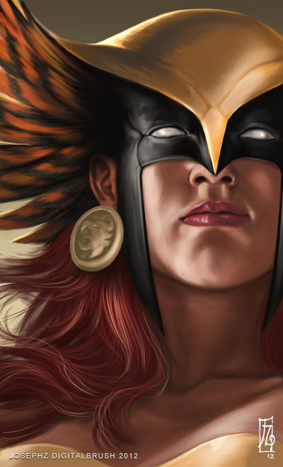 justderek:  Hawkgirl Headshot by *earache-J Another incredible tablet painting.