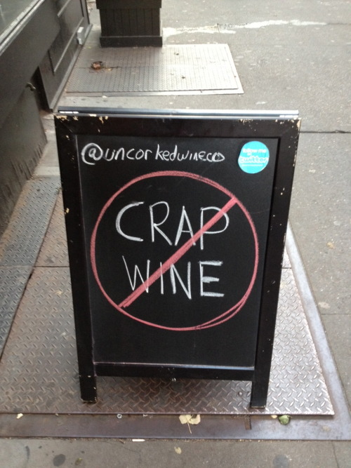 crap wine is unacceptable at uncorked wine
