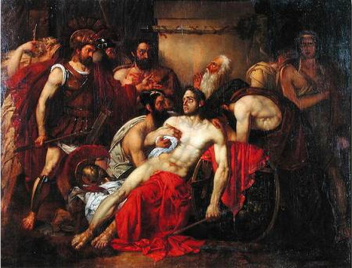 "necspenecmetu:  Louis Gallait, The Death of Epaminondas, 19th century  Epaminondas (Greek: Ἐπαμεινώνδας; ca. 418 BC – 362 BC), or Epameinondas, was a Theban general and statesman of the 4th century BC who transformed the Ancient Greek city-state of Thebes, leading it out of Spartan subjugation into a preeminent position in Greek politics. In the process he broke Spartan military power with his victory at Leuctra and liberated the Messenian helots, a group of Peloponnesian Greeks who had been enslaved under Spartan rule for some 230 years, having been defeated in the Messenian War ending in 600 BC. Epaminondas reshaped the political map of Greece, fragmented old alliances, created new ones, and supervised the construction of entire cities. He was militarily influential as well, inventing and implementing several major battlefield tactics. The Roman orator Cicero called him ""the first man of Greece"", and Montaigne judged him one of the three ""worthiest and most excellent men"" that had ever lived, but Epaminondas has fallen into relative obscurity in modern times. The changes Epaminondas wrought on the Greek political order did not long outlive him, as the cycle of shifting hegemonies and alliances continued unabated. A mere twenty-seven years after his death, a recalcitrant Thebes was obliterated by Alexander the Great. Thus Epaminondas—who had been praised in his time as an idealist and liberator—is today largely remembered for a decade (371 BC to 362 BC) of campaigning that sapped the strength of the great land powers of Greece and paved the way for the Macedonian conquest."