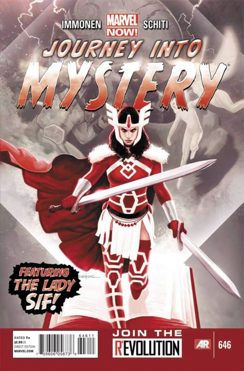 "Market Monday Journey Into Mystery #646, written by Kathryn Immonen, colored by Jordie Bellaire  AN ALL-NEW JOURNEY BEGINS WHEN KATHRYN IMMONEN AND VALERIO SCHITI BRING YOU…SIF: THE BERZERKER?! She may be a ""Lady,"" but girly ain't her style! Known by many names: lover of Thor, sister of Heimdall, defender of Asgard…Sif is the ultimate faithful…sidekick?! Immortal, please. When the latest crop of beasties beset Asgard, it's business as usual for our sword-slingin' heroine as she leads the battle charge—but that no-holds-barred zeal for glory may be the very thing that brings the realm down around her winged helm…!  ~Preview~"