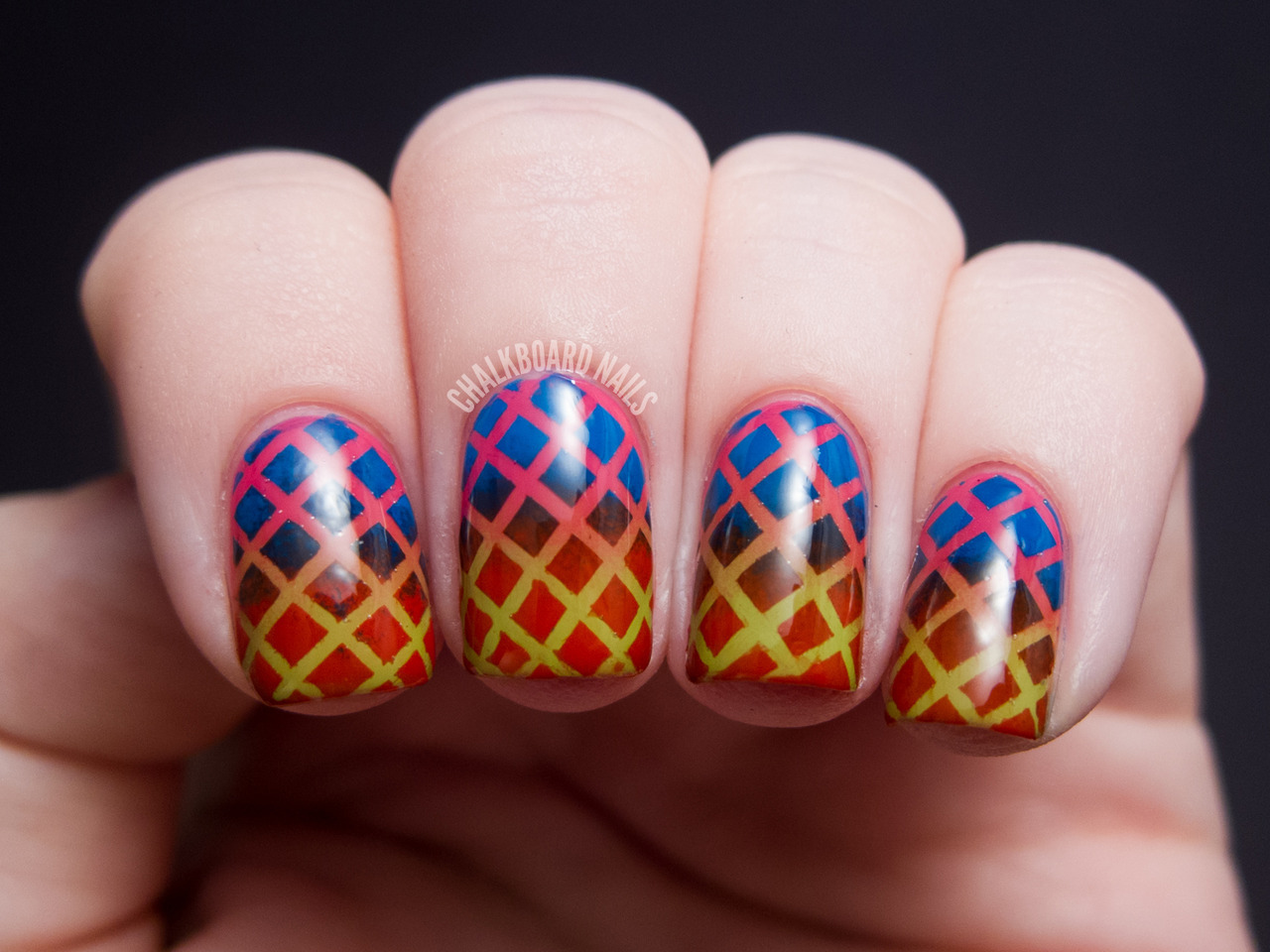 Double Gradient Mesh - China Glaze Cirque du Soleil Nail Art China Glaze Def DefyingChina Glaze Igniting LoveChina Glaze Escaping RealityChina Glaze Hanging In the Balance