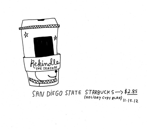 Daily Purchase Drawing for 11.15.12  A cup of coffee purchased before my talk at San Diego State. Holiday cups in full effect.