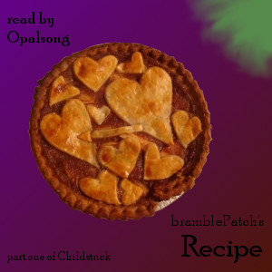 opalsong:  Title: RecipeAuthor: bramblePatchReader: opalsongFandom: HomestuckPairings: Tavros/Gamzee, Karkat<>GamzeeRating: TeenLength: 32:47Cover: opalsongSummary:  For PB&J: Take one part well-aged longing, one part awkwardness, two parts enthusiasm, and a dash of possessiveness. Mix well. Season to taste with the presence of a crabby moirail in the next block.Links: MP3Cross posted at my Journal, Amplificathon, my Tumblr, and AO3  Oh man, this is cool!