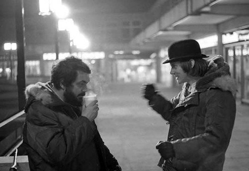 awesomepeoplehangingouttogether:  Stanley Kubrick and Malcolm McDowell