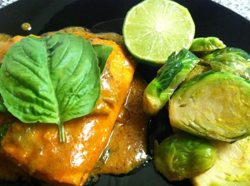 Red curry salmon & brussels sprouts made possible with the help of Thai sauce, basil, cilantro, lime and The Essential Clash.