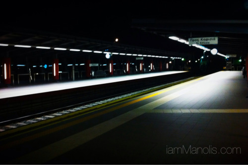 Empty metro train station on a quiet night