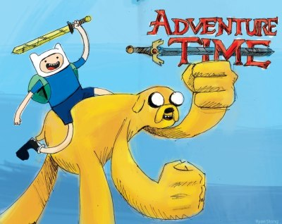 Adventure Time! C'mon grab your friends, We'll go to very distant lands. With Jake the Dog and Finn the Human, it's the fun that never ends, it's Adventure Time!