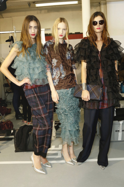 Marine Deleeuw, Maja Salamon, and Ava Smith backstage at Dries van Noten Spring 2013, Paris
