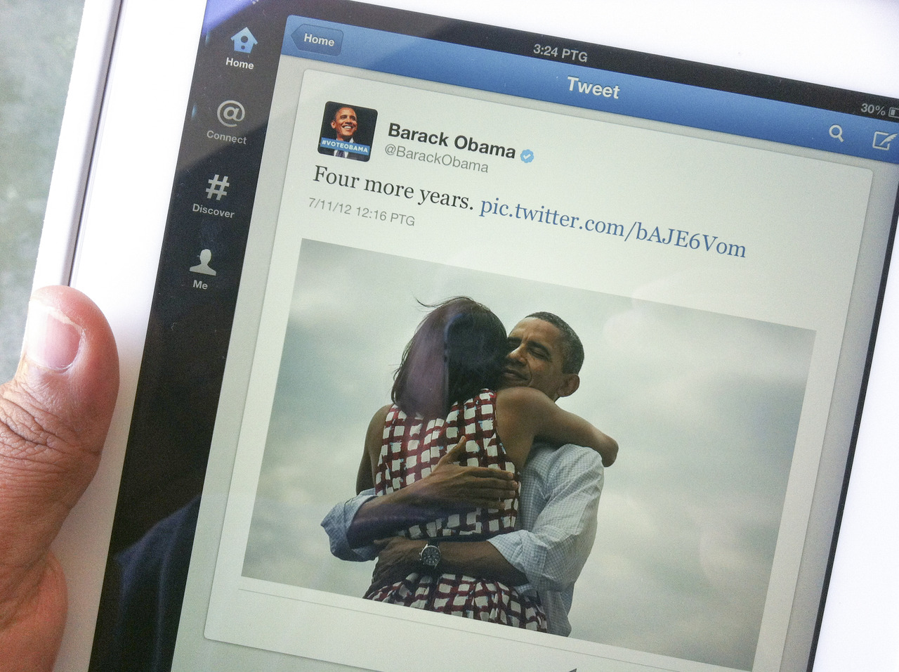 "Meet the Mind Behind Barack Obama's Online Persona You've most definitely seen it by now. Michelle Obama, wearing a red-and-white checkered dress, stands with her back to the camera. Her arms are wrapped around her husband, the hints of a smile lingering on the edges of his lips. ""Four more years,"" reads the text, which was posted on the Obama campaign's social media accounts around 11:15pm on election night' just as it became clear the president had won a second term.  The photo, taken by campaign photographer Scout Tufankjian just a few days into the job, pretty much won the internet: 816,000 retweets, the most likes ever on Facebook; thousands of reblogs on Tumblr. And yet it wasn't chosen by the president's press secretary, or even a senior-level operative, but by 31-year-old Laura Olin, a social media strategist who'd been up since 4am. For the first time since the campaign ended, she talked to Tumblr, in partnership with The Daily Beast, about what it's like being the voice of the President — where millions of people, and a ravenous press, await your every grammatical error. So how does it actually work, being the voice of the President? Who makes the decisions about what to post? All of our decisions were made in-house — in Chicago, mostly — so we weren't getting direct directives from the White House or anything. But we tried as much as possible to have voices for each account, so depending on the message — because we had all these channels — we had an appropriate place to put it. Obviously some stuff was sufficiently huge so that it went everywhere, but as much as possible we tried to tailor the message for the channel and the audience. It must be daunting. It was kind of terrifying, actually. My team ran the Barack Obama Twitter handle, which I think was probably most susceptible to really embarrassing and silly mistakes. We didn't ever really have one, which I still can't believe we pulled off. Was it pretty much constant terror? It was choosing people for the team who not only were creative — and knew their social media shit — but were really kind of fanatical about fact checking and accuracy. It was getting people that understood there had to be serious fear of God before posting anything. It got to be exhausting, but I'm really proud we avoided a really embarrassing ""Amercia"" situation. Did you have any close calls? Not anything too terrible but just embarrassing typos. But not anything as bad as Amercia. Because that's pretty damn bad. Do you think Republicans are more tone deaf when it comes to social media than Democrats?  I think they're a little more tone deaf generally, but I'm sure there are people that get it. I think one of the great things about our campaign is that they recognized that digital was going to be a huge part of it. They put a lot of trust in my boss, [Obama for America Digital Director] Teddy Goff, and he in turn put a lot of trust in us, that we knew what we were doing, and to follow our gut, they just need to be brave enough to just let people who know their shit do what they do. But I'm perfectly content if they don't figure that out for a while. How did you guys decide what voice to speak in? Was it more casual than real life? One thing I was really proud of was we always tried to be really human, like speak to people like we'd like to be spoken to, and never go into, you know, ""speechiness."" We actually had a list of banned words — like, don't use words that only politicians use in speeches, don't be a douchebag, stuff like that.  It was nice to see you guys embrace the GIF on Tumblr. Was that a conscious decision? We recognized early on that when we put up a GIF or reblogged a GIF it would have a better reach than just a static image. It's just another way to speak in the terms of the community — and make things more fun. This isn't rocket science at all, but I think something that we discovered — or tried to implement — was that if you put things in terms that people actually want to share, they will share them. Political campaigns historically haven't totally gotten it. Tell me what election night was like for your team. The digital campaign was divided into people who were responsible for putting out planned content — so, like, find your polling place — and a rapid-response team. We also did targeted posts and tweets encouraging people to stay in line, getting out information where their new polling place was, stuff like that. We actually went through a few dry runs in the weeks before election day to make sure that we had that entire process down. And how'd the Four More Years photo come about? We'd all been there since 4am or 6am, we're exhausted, I refused to believe that we were actually winning, but we started thinking, around 8:30 or 9:00, ""What do we do next?"" One of my team members remembered an amazing photo of the president and first lady hugging at the president's last campaign rally in Des Moines. It's this really beautiful photo at night — the only thing was that Michelle was facing forward and the president was facing away from the camera, So my boss, Teddy Goff, made the very good point that we should see the president's face. I remembered that our campaign photographer had taken a series of really great hug photographs at another Iowa rally, in the summer, and I went to our photo editor and she was like ""Yes!"" She found the photo, I wrote a couple captions, we went with ""Four more years,"" they called Iowa, I hit post, and then I closed my laptop and we jetted to the victory party. Actually, none of us looked at how the posts were doing until I opened my laptop the next morning. And, of course, it had exploded. I don't think anyone on the team had a conception that we would break every record ever, it was crazy. I think it was just a combination of the moment, and just kinda lucking into a photo that people loved that I think showed the emotion and the relief, and obviously I think everyone loves the president and the first lady together especially, so it was sort of a confluence of factors. But, uh, yeah. It worked out. — Brian Ries is the social media editor for Newsweek/The Daily Beast, who produced this story in partnership with Tumblr Storyboard. Photo by Scout Tufankjian for Obama for America."
