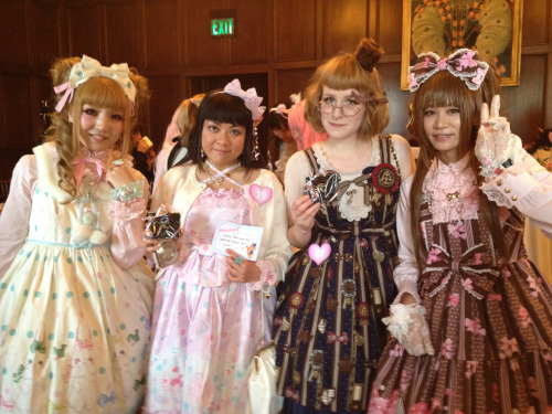 the tea party was really fun today ♡ the best part is always seeing other lolitas, but i also made off with a lot of loot!! Σ('◉⌓◉') i won two things which was so surprising! i met some real cuties today, shout out to ann who follows me on tumblr! hahaha (・ε・ ) okay time to pass out so tired so happy long live lolita