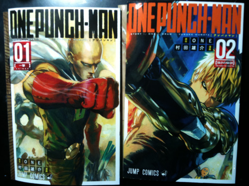 splickedylit:  super-amatista:   One Punch Man official volume covers  WHOA….they make the series look much more serious than it really is.  \(O^O)/  WHOA.  WHOA!  So cool!  Do want!  8O  I'm on the verge of crying, I can't—  aaaahhhhh they are so beautifullll But no, it's not as serious as all that because look, Saitama's carrying his grocery bag with leeks and you can see him looking like a dumbass in the background of Genos' cover.  So there are subtle touches of idiocy.