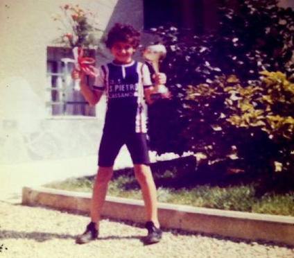 Ivan Basso as a child with his first trophy and victory.