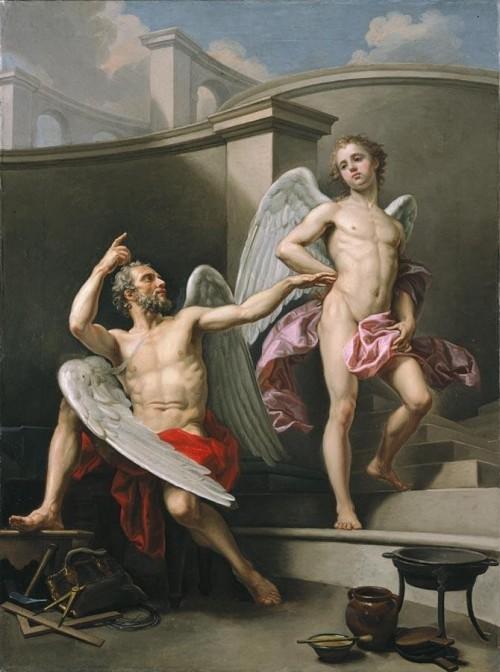 Pecheux Laurent (Français, 1729-1821), Dédale et Icare. Huile sur toile, 98 x 73 cm.