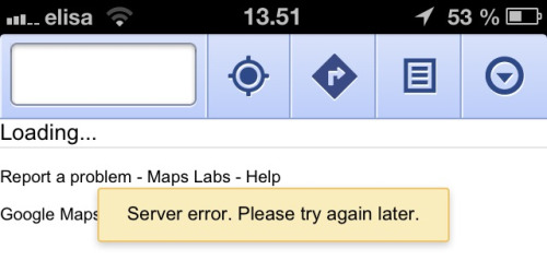This is what I get most of the times from google maps on iOS #fail