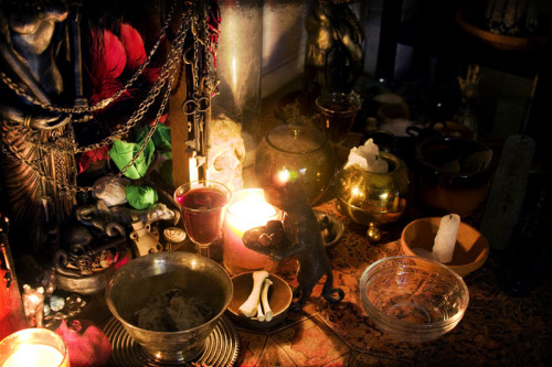 """Hekate Offerings    Prepared offerings for Hekate complete with imp cat holding herbs."" by superboy783 on flickr"