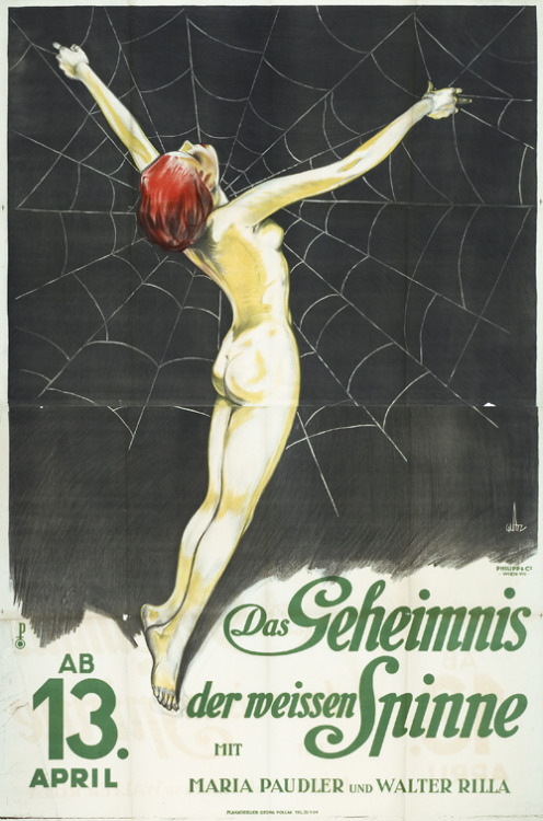 Poster for Carl Boese's silent film The White Spider, 1927 Via 50 Watts