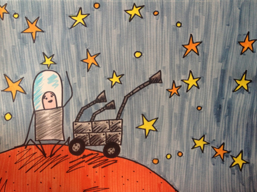 Captain Spaceman and Curiosity point out the constellations.