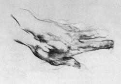 drawingdetail:  Mikhail Vrubel, The Artist's Left Hand, 1882-83. Black chalk and charcoal on paper, 18.6 x 26.8 cm. The Russian Museum, Saint Petersburg.