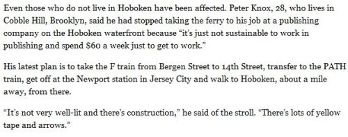 peterwknox:  Quoted in this NY Times article: Hoboken Commuters Find New Routines as Restoration of PATH Service Lags - NYTimes.com Thanks to my Tweet.  Yellow Tape and Arrows! how do you manage?!? a truly observant pedestrian:)