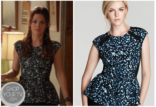 Zoe Hart (Rachel Bilson) wears this cute blue and white splatter peplum top in this week's episode of Hart of Dixie.It is the Rebecca Taylor Glitter Print Peplum Top.  You can buy it from a couple of places Bloomingdales $265 Rebecca Taylor $265
