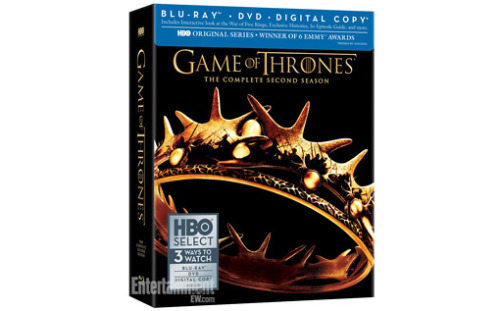 "The Game of Thrones: Season 2 Blu-ray/DVD that's going to be released February 19 includes a lot of awesome things, such as: - 19 animated histories detailing the mythology of Westeros and Essos as told from the varying perspectives of the characters themselves and featuring, in-part, illustrations from Game of Thrones storyboard artist Will Simpson - A 30-minute feature about the making of the Battle of Blackwater Bay - 12 commentaries with cast and crew including David Benioff, D.B. Weiss, George R.R. Martin, Emilia Clarke, Peter Dinklage, Kit Harington - Never-before-seen content concealed in hidden ""dragon eggs"" But wait, there's more!"