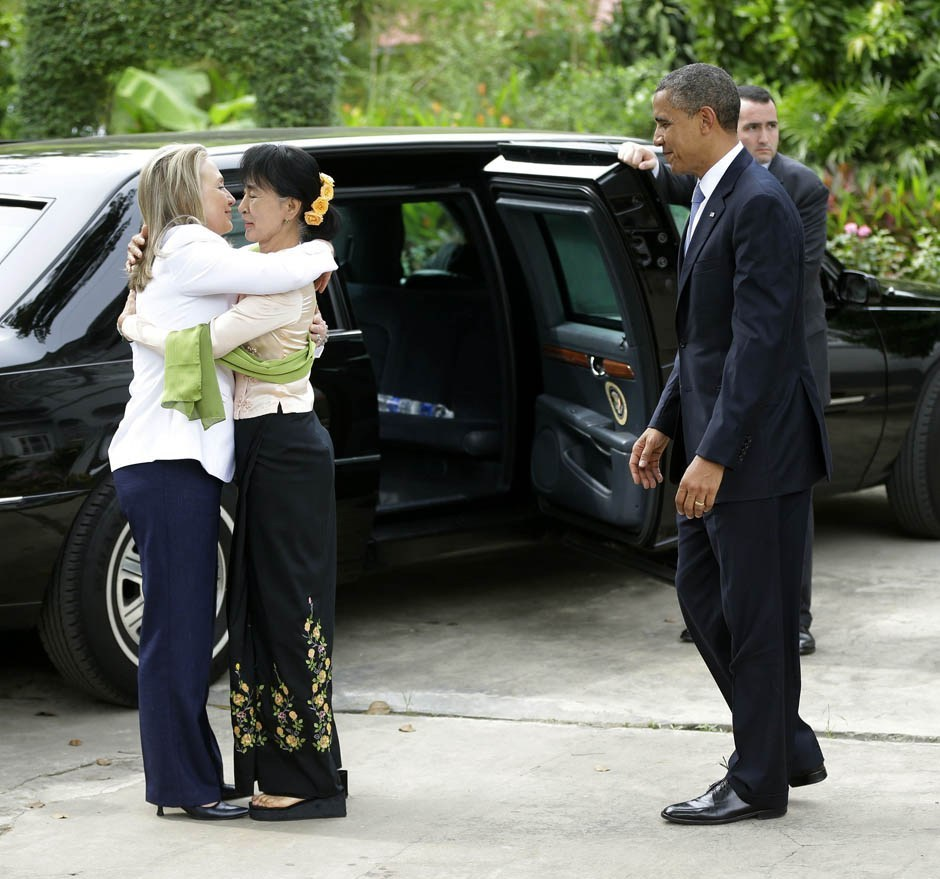 "nationalpost:  Barack Obama, Hillary Clinton have emotional visit with Burma democracy activist Aung San Suu KyiU.S. President Barack Obama and Secretary of State Hillary Clinton paid an emotional visit to Nobel Peace Prize laureate Suu Kyi, who led the struggle against military rule in Burma, at the lakeside home where she spent years under house arrest.Obama hugged her and lauded her as a personal inspiration. Suu Kyi spent most of the past 20 years in house detention at her home.Addressing reporters afterwards, Suu Kyi thanked Obama for supporting the political reform process. But, speaking so softly she was barely audible at times, she cautioned that the most difficult time was ""when we think that success is in sight"".""Then we have to be very careful that we are not lured by a mirage of success and that we are working towards genuine success for our people,"" she said. (AP Photo/Pablo Martinez Monsivais)"