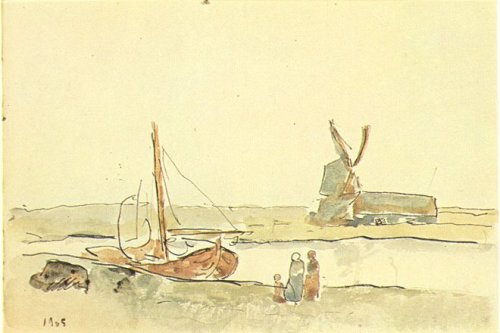 Pablo Picasso, A Boat on the Canal, 1905. Watercolour on paper, 12.5 x 18.5 cm.