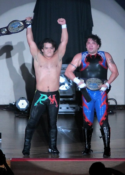"[NOAH News] Pro Wrestling NOAH announced yet another title match to be held on the final big show of the year as Los Mexitosos will be defending the GHC Jr. Tag belts against Yoshinobu Kanemaru & Genba Hirayanagi.Genba picked up the win over Marvin on the November 18th show and made the challenge to the champions for a title shot for pinning a current champion. The NOAH/GHC committee took charge to set the match up for the big Ryogoku show on December 9.This makes for all the GHC belts, aka GHC4, to be defended on the show.NOAH ""GREAT VOYAGE 2012 in RYOGOKU vol.2"", 12/9/2012 [Sun] 15:00 @ Ryogoku Kokugikan in TokyoNewly Announced:(-) GHC Junior Heavyweight Tag Championship Match: [16th Champions] ""Los Mexitosos"" Super Crazy & Ricky Marvin vs. [Challengers] ""NO MERCY"" Yoshinobu Kanemaru & Genba Hirayanagi~ 3rd Defense.Previously Announced:(-) GHC Junior Heavyweight Championship Match: [25th Champion] Shuji Kondo vs. [Challenger] Kotaro Suzuki~ 2nd Defense.(-) GHC Tag Championship Match: [26th Champions] Go Shiozaki & Akitoshi Saito vs. [Challengers] Naomichi Marufuji & Takashi Sugiura~ 1st Defense.(-) GHC Heavyweight Championship Match: [18th Champion] Takeshi Morishima vs. [Challenger] Satoshi Kojima~ 8th Defense."