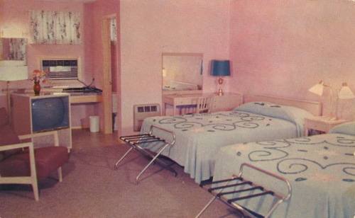 "bad-postcards:   BED SPREAD ALERT Chenilles. Two of 'em. Matching.  HOME RANCH MOTEL On U.S. 230 By-pass — 1/2 Mile North of the Penna. Turnpike (Harrisburg East Interchange. 2-1/2 Miles East of Harrisburg, Pa. ""Air-Conditioned"" — Wall to Wall Carpeting — Television — Thermostatic Heat. Mailing Address: R.D. #1, Middletown, Penna."