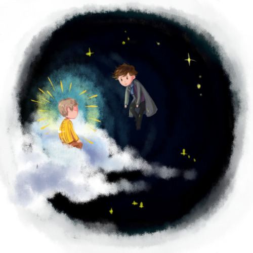 ineffableboyfriends:  Drawing for my AU verse: Cloud-herder!Sherlock…In which Sherlock herds the clouds and John is a star that he falls in love with (a star that eventually falls). [bigger version]