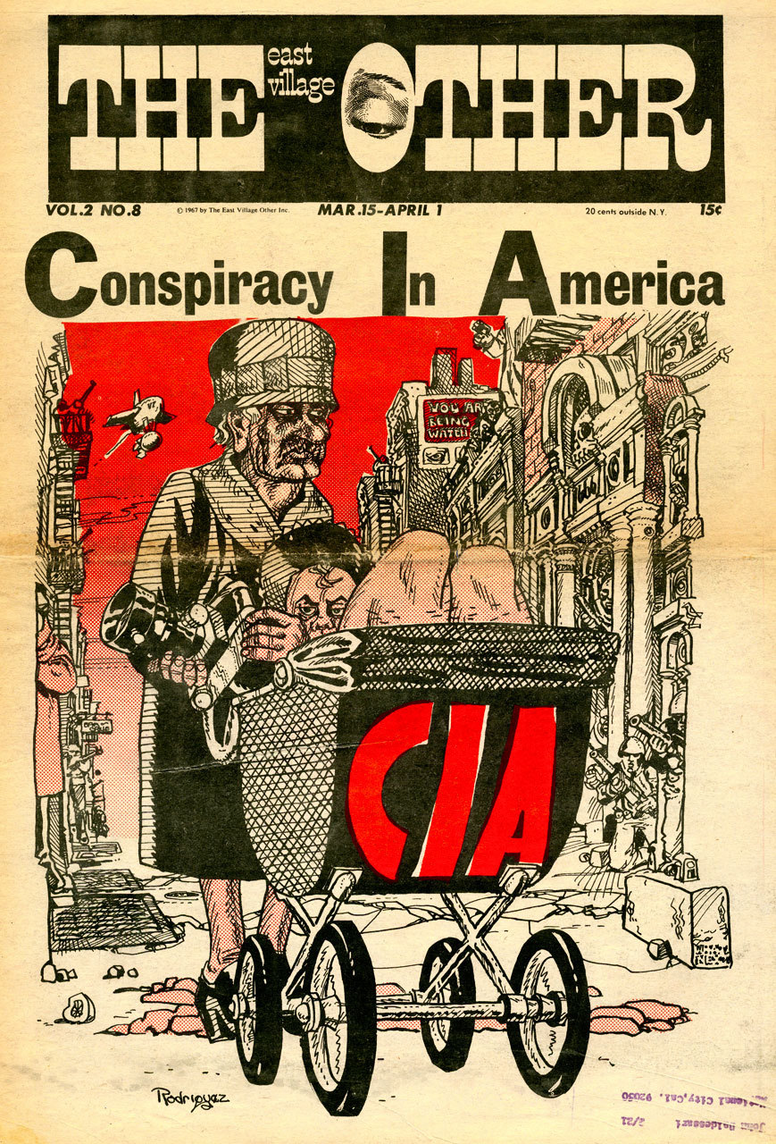 Conspiracy In America. Cover by Spain Rodriguez Also want to be extra nerdy & point out the provenance. Shouts to Baldessari