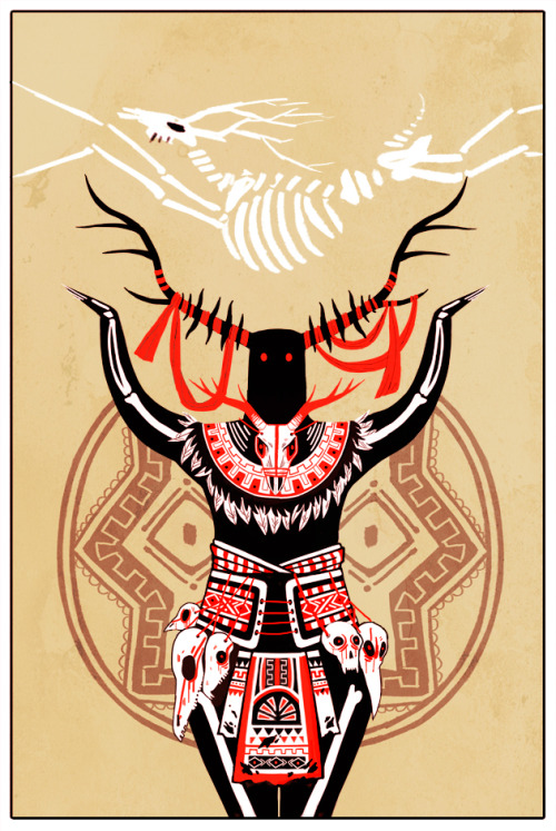 first tarot card done! this guy is supposed to be some sort of wendigo. drawing this broke my spine in fifteen different places!!