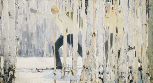 blastedheath:  Enver Ishmametov (Russian, 1916-1985), Skiing. Oil on canvas, 124.5 x 228.6 cm, 49 x 90 in.