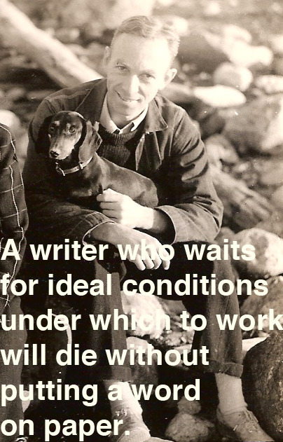 "explore-blog:   ""A writer who waits for ideal conditions under which to work will die without putting a word on paper.""  E. B. White, echoing Tchaikovsky and adding to our running archive of famous advice on writing."