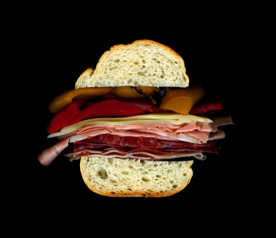 James Beard's Hero: Capicola, Mortadella, Prosciutto, Salami, Provolone, Hot Peppers, On an Italian Hero. See it on display at The James Beard House through December 2012