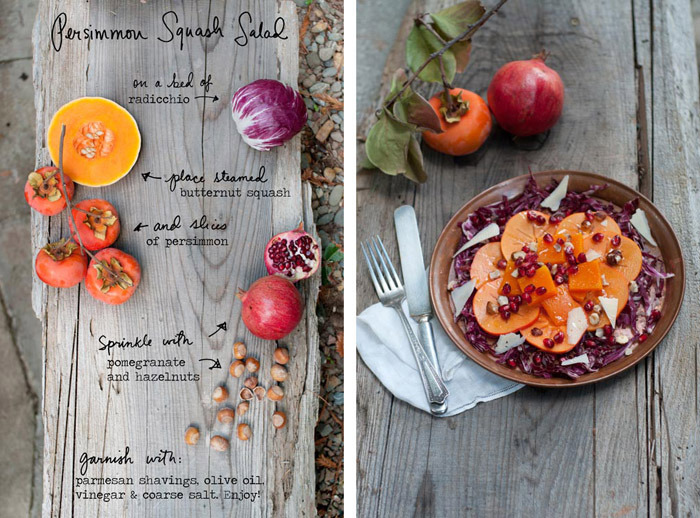 Persimmons are my favorite autumn fruit and I was so excited to share this recipe on Design Sponge on Friday- it's a great, alternative Thanksgiving side salad. Trees around the Bay Area are bursting with persimmons right now and my friend, photographer Topher Simon, let me come over and pick from (and photograph!) his tree. Be sure when eating persimmons raw you choose the Fuyu variety- they are more squat and crunchy. The other more oblong variety leave a pasty taste in your mouth when eaten raw- they  are meant for cooking with. Check out the Design Sponge post of this recipe for more photos and detailed instructions. Enjoy! By Erin Gleeson for The Forest Feast