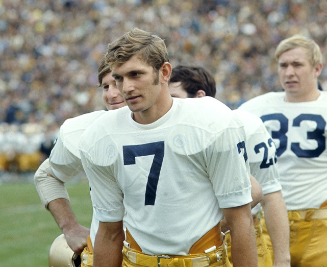 Notre Dame quarterback Joe Theismann stands on the sidelines during a Oct. 1970 game against Missouri. As a starting quarterback for the Fighting Irish, Theismann compiled a 20–3–2 record while throwing for 4,411 yards and 31 touchdowns. (Heinz Kluetmeier/SI) GALLERY: Classic Photos of Notre Dame FootballCFB OVERTIME: SEC back in control of BCS fate