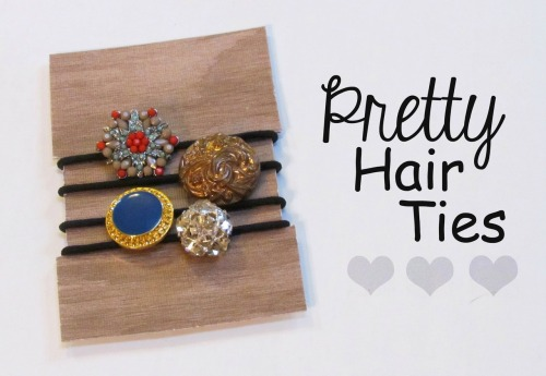 DIY Dollar Store Button Hair Ties Tutorial from Two Butterflies here. This is so easy - Dollar Store elastic hair ties (I'd try and buy sturdy ones) and pretty buttons. This is an easy project a child could do - along with the presentation of the ties.