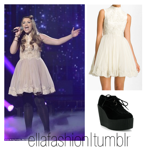In live show 1, Ella wore this;  Ted Baker 'Telago' Embroidered Tulle Frock Dress (x) Chockers Rock Wedge Boots (x) And a pair of black leggins