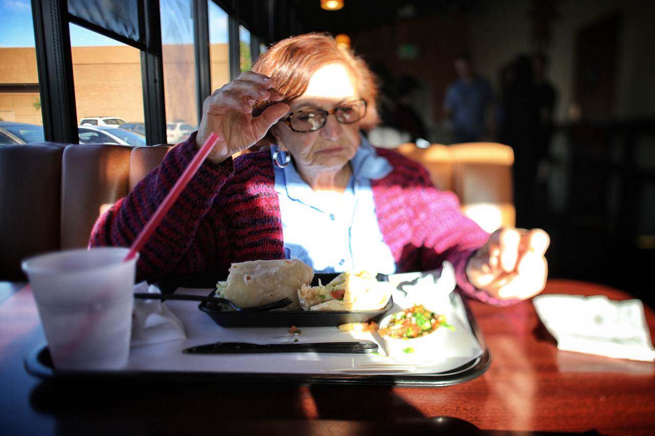 11.19.12 : photo.a.day - My Mother and her shrimp burrito.softservegirl.com / archives / about