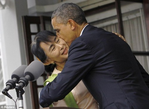 A Presidential Display of Affection towards Aung Saan Suu Kyi.