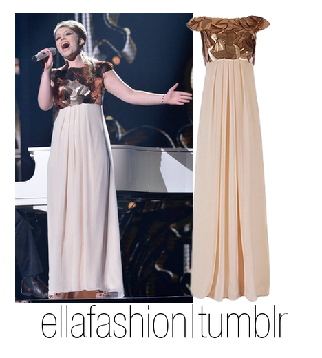 In live show 2, Ella wore this;  Ted Baker HAYLEI Sequin Maxi Dress (x) (cant find a link to buy. will update) Will update when i find the shoes