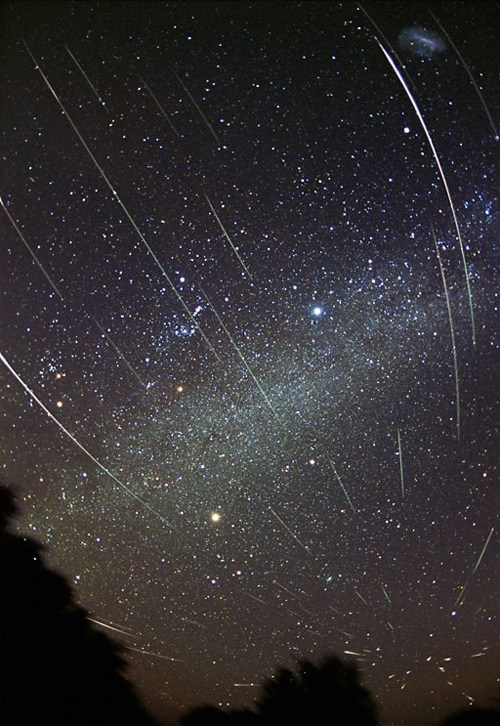 thedailywhat:  Space Shot of the Day: Leonids Meteor Shower  The earth's sky is open for double feature this week, first with the rare sighting of a total solar eclipse in Australia on Wednesday, and now one of the most spectacular meteor shower's return for its annual November show. Commonly known as Leonids, reports of the celestial storm have been recorded as early as the 10th century and its most prolific shower in 1833 saw as many as 100,000 meteors per hour. The photograph (shown left) was taken by Fred Aspenak in November 2001. For a better view, check out the telescopic recording of the shower provided by NASA's Marshall Center. Space Shot of the Day is a feature series following the latest developments in planetary science, astrophotography, space exploration, future plans for colonization and all things related to outer space.