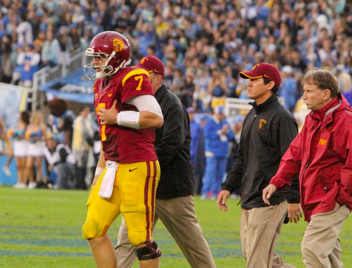 "Quarterback Matt Barkley will not play in USC's regular season finale against No. 1 Notre Dame, head coach Lane Kiffin confirmed on a conference call Sunday. Barkley suffered a shoulder sprain in the fourth quarter of Saturday's loss to UCLA. He exited the game and did not return. The last game Barkley missed due to injury was also a home matchup against Notre Dame in 2010. Freshman Max Wittek will start Saturday's game against the Irish, Kiffin said. Wittek completed all three of his passes to finish the UCLA game, and also saw action in blowouts of Hawaii and Colorado this season. Though he has completed eight of nine passes this season, Wittek faces a difficult task against Notre Dame, the best defense in the country at 10.1 points allowed per game. ""I thought he did a great job and we have a lot of confidence in him,"" Lane Kiffin told reporters on the conference call about Wittek's performance against UCLA (quote via ESPNLA's Pedro Moura)."