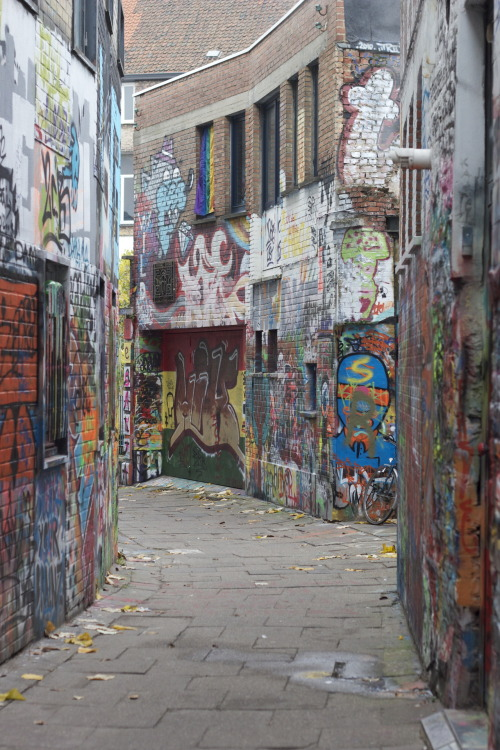 i-wantyoutorockme:  i-wantyoutorockme:  Graffiti street in Ghent (Belgium)  whoaa the notes!