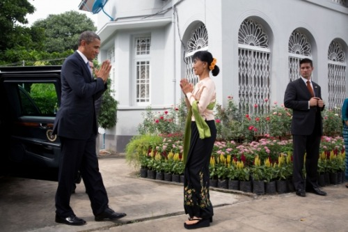 "President Obama Promises Support for the People of Burma When President Obama arrived in Rangoon on Monday, he became the first sitting president ever to visit Burma — the Asian nation bordering Thailand, China, and Bangladesh.For nearly 50 years, from the 1962 to 2011, the country was ruled by a military junta. But over the past year and a half, reform has begun to take root.""A civilian now leads the government, and a parliament is asserting itself,"" President Obama said in a speech at the University of Yangon. ""The once-outlawed National League for Democracy stood in an election, and Aung San Suu Kyi is a Member of Parliament. Hundreds of prisoners of conscience have been released, and forced labor has been banned. Preliminary cease-fires have been reached with ethnic armies, and new laws allow for a more open economy.""Earlier today, President Obama met with President Thein Sein — one of those… more »"