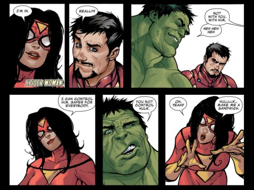 Avengers Assemble #9 (2012)  Best part? On the next page, Hulk totally makes her a sandwich.  Gold.