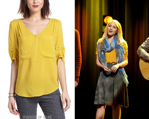 fashionofglee:  Quinn Fabray wearing Anthropologie - who'd have guessed? Anthropologie Charleston Henley Peasant Blouse - $68.00