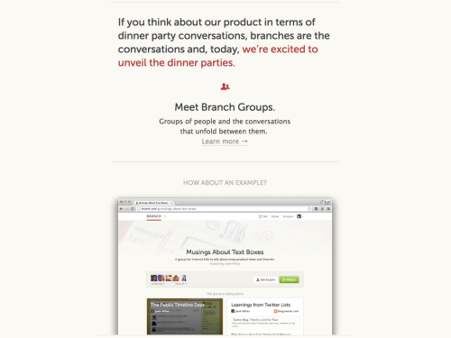 rickwebb:  Oh hey. Branch has groups now. Awesome.   Excited for this.